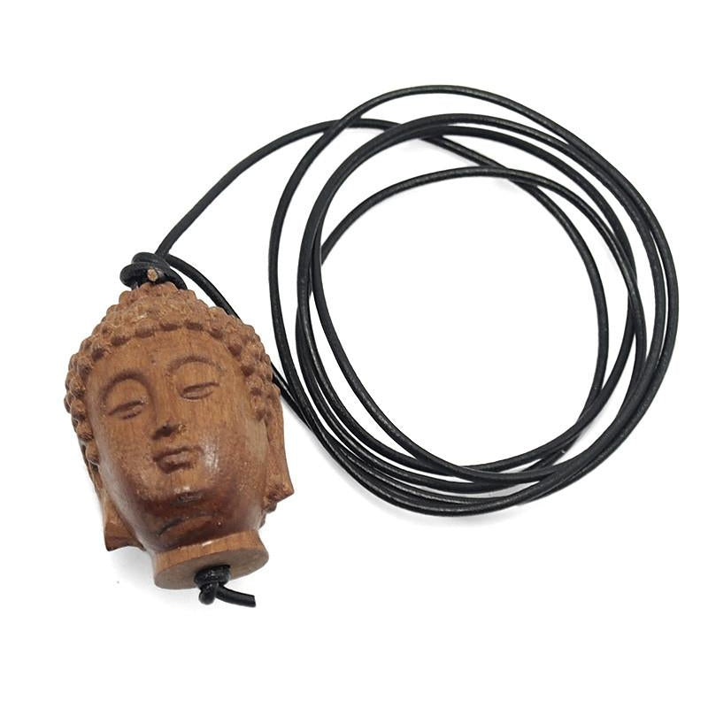 Buddha Head Wooden Bead Necklace 2
