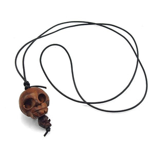 "Skull Bead Hand Carved Date Wood ""Momento Mori"" Pendant 1"