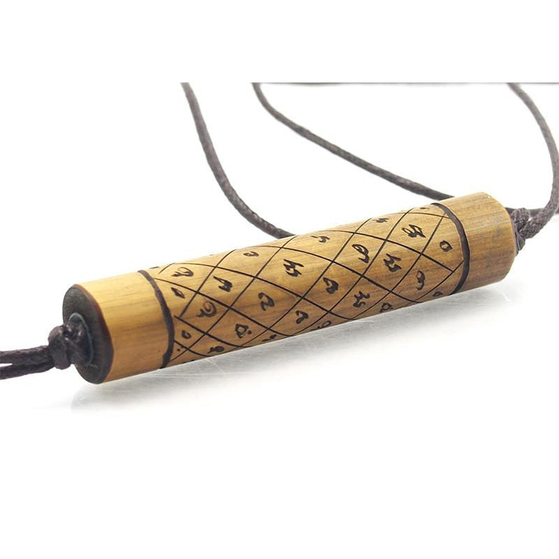Bamboo Prayer Scroll Necklace
