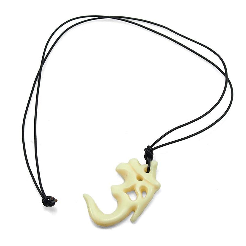 Om Sign Bone Pendant Necklace 1 Large