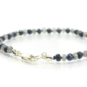 Sapphire and Labradorite Knotted Bracelet with Sterling Silver Lobster Clasp