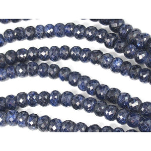 Sapphire Faceted Rondelles 9-10mm Strand
