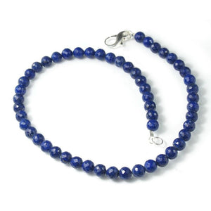 Lapis Lazuli (AA+ Quality)Necklace with Sterling Silver Fancy Lobster Claw Clasp