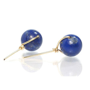 Lapis Lazuli Stud Earrings with Gold Filled Ear Wire