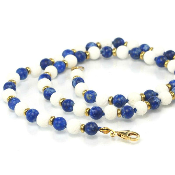 Lapis Lazuli and White Lavastone Necklace with Gold Filled Trigger Clasp