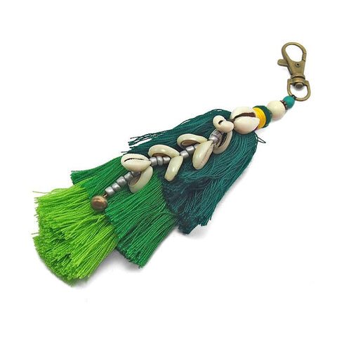 Hilltribe Tassel Keychain With Bell and Cowry Shell, C