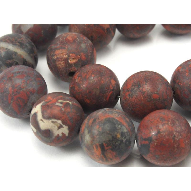 Poppy Jasper Matte Rounds 14mm Strand