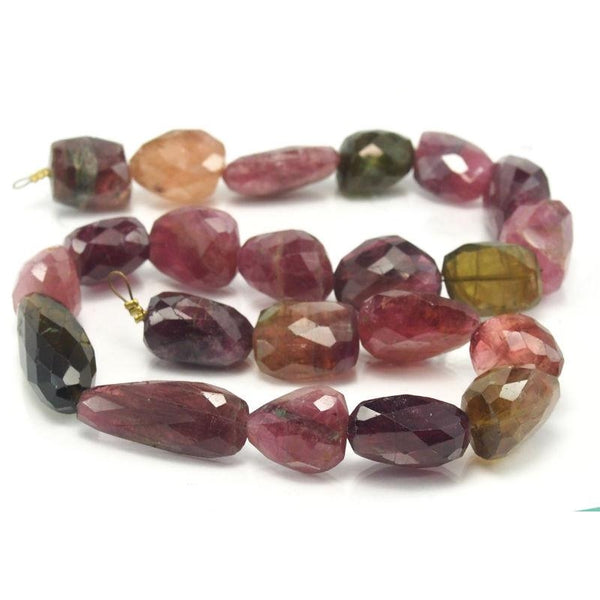 Tourmaline Fine Hand Faceted Nugget Strand