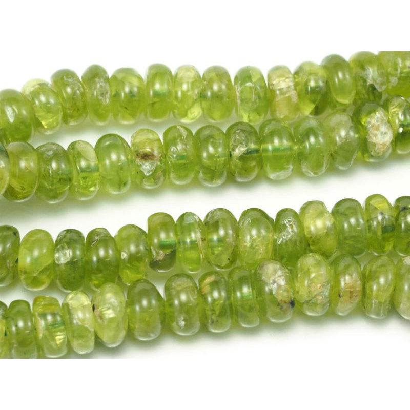 Peridot Smooth Rondelles 9mm Strand