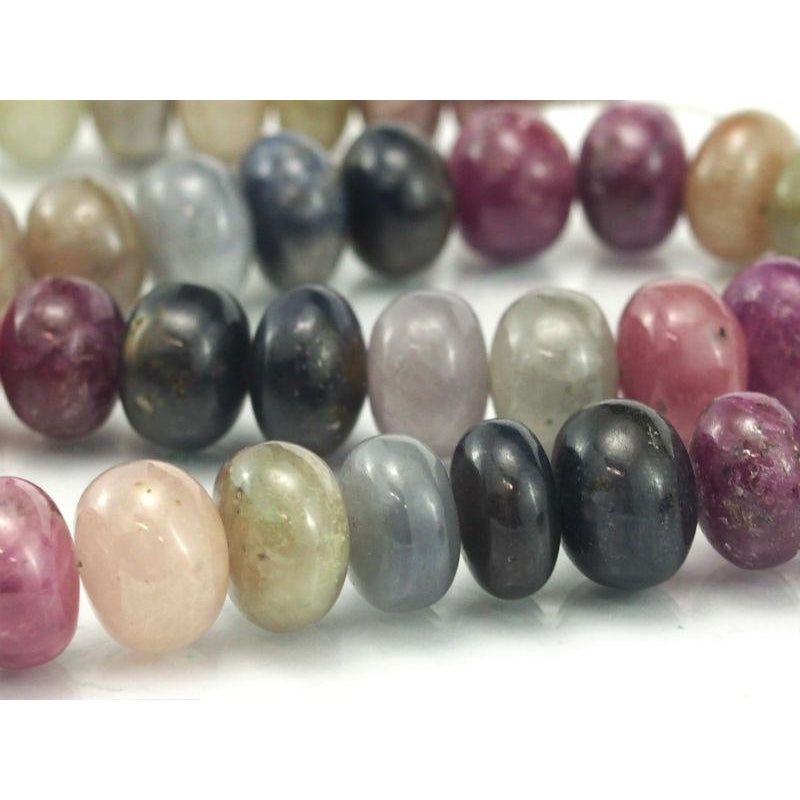 Multi-Colored Sapphire Smooth Rondelles 12mm Strand