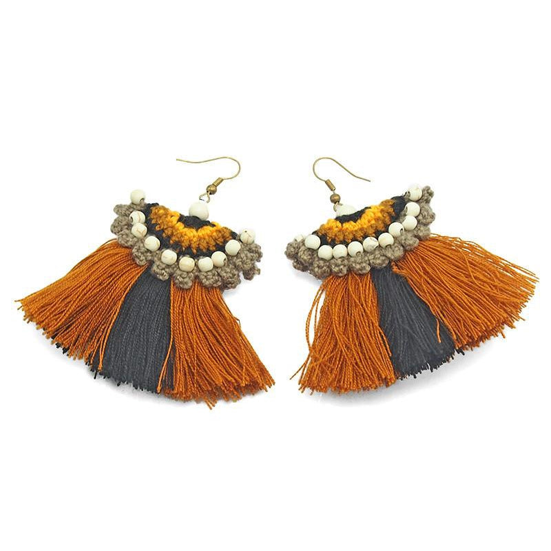 Hilltribe Chrocheted Earrings, V