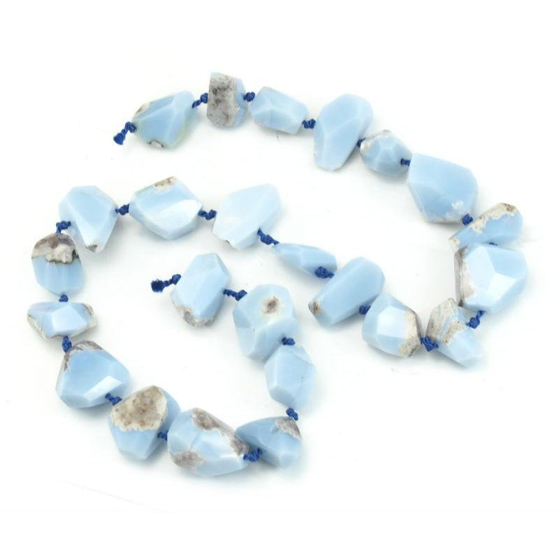 Chalcedony Blue Raw Faceted Nuggets Strand