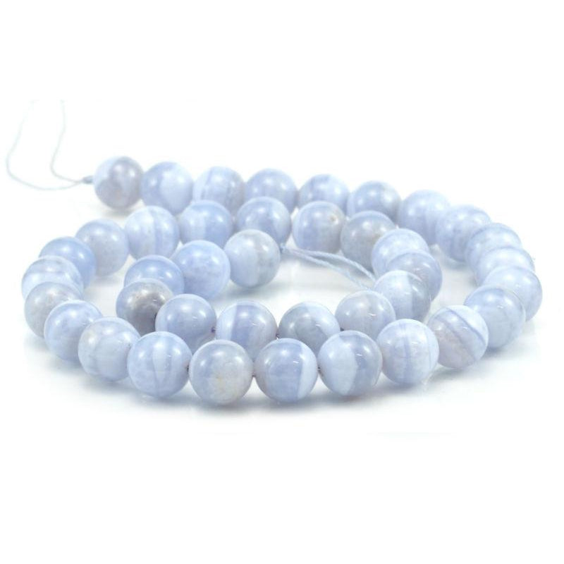 Blue Lace Agate Smooth Rounds 10mm Strand