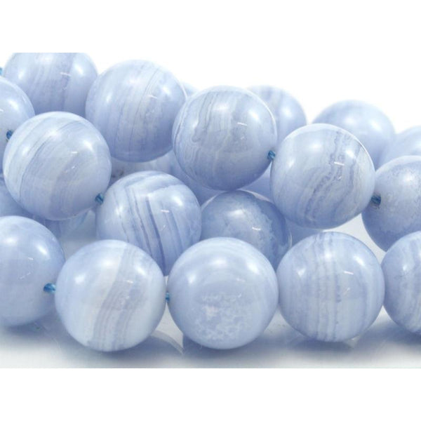 Blue Lace Agate Fine Smooth Rounds 14mm Strand