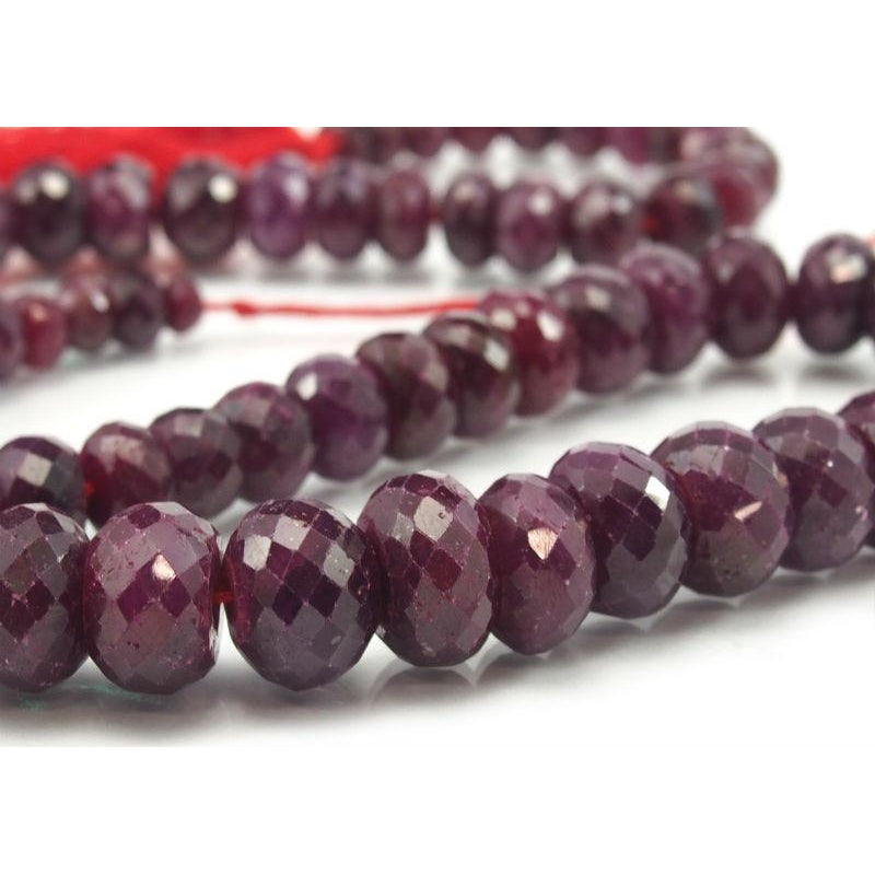 Ruby Faceted Rondelle Graduated Strand