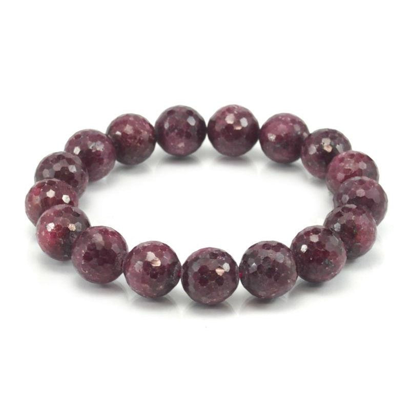 Ruby-Zoisite Faceted Stretch Bracelet 13mm