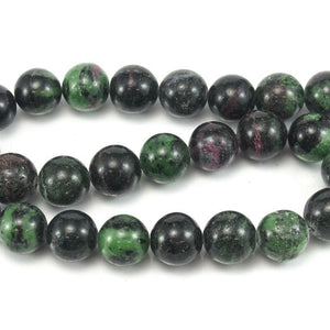Ruby-Zoisite Smooth Rounds 16mm Strand