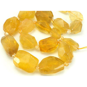Yellow Fluorite Faceted Chunks Strand