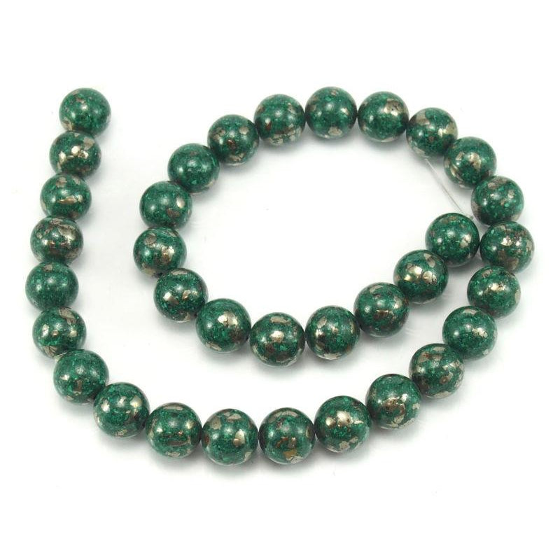 Malachite with Pyrite Smooth Rounds 12mm