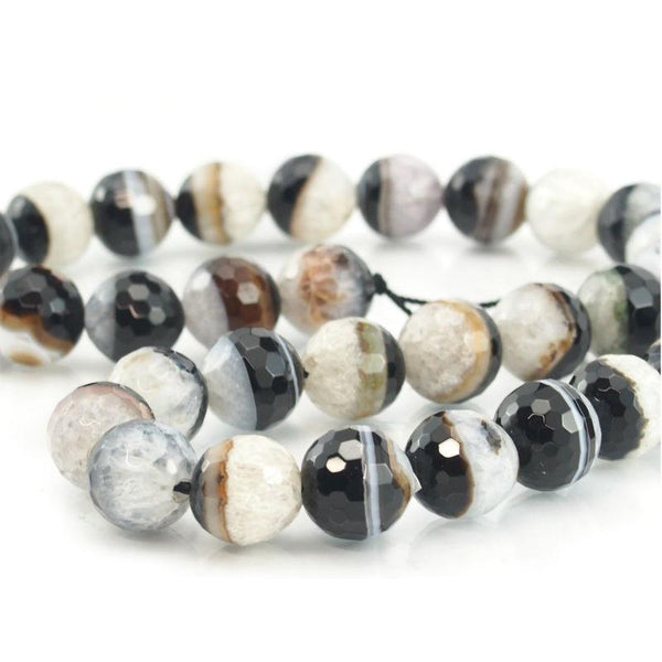 Banded Agate Faceted Round 12mm Strand