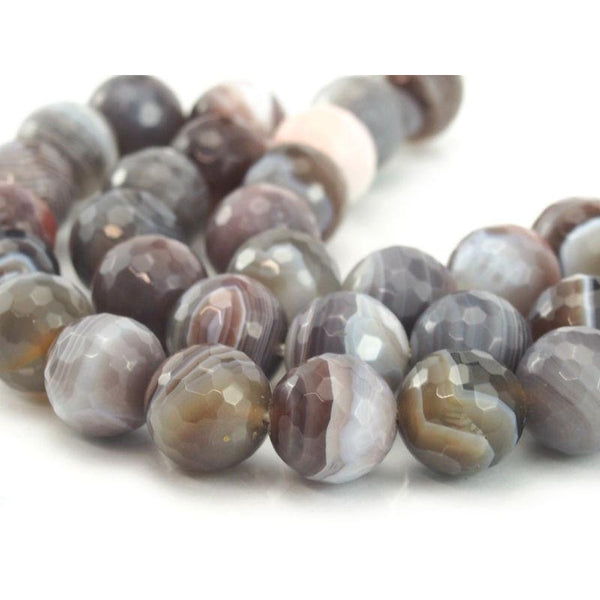 Botswana Agate Faceted Round 12mm Strand