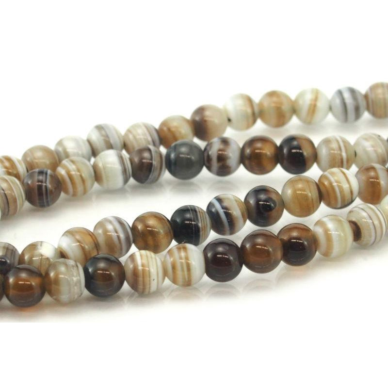 Banded Agate Smooth Round 6mm Strand
