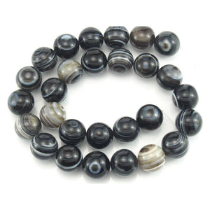 Banded Agate Smooth Round 14mm Strand