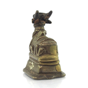 19th Century Temple Bronze of Nandi Sacred Cow Lord Shiva's Mount 1