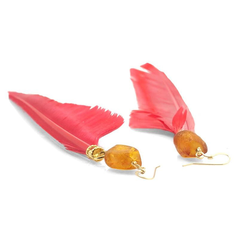 Feather Earrings with Amber Breads