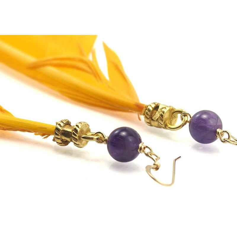 Feather Earrings with Amethyst Beads