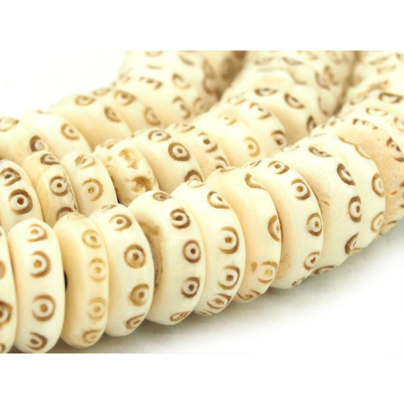 Hand Carved Cow Bone Discs 14mm