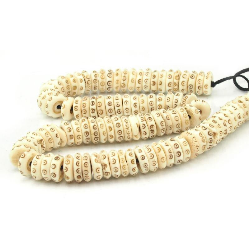 Hand Carved Cow Bone Discs 14mm Beads Of Paradise