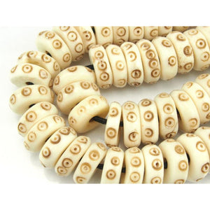 Hand-Carved Cow Bone Discs 12mm Strand