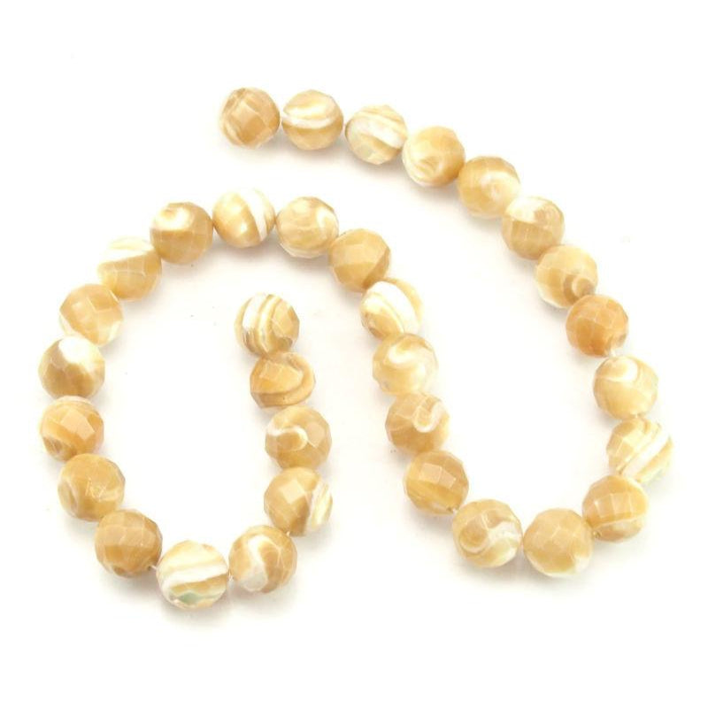Mother of Pearl Faceted Rounds 12mm Strand