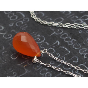 Carnelian Necklace on Sterling Silver Chain and Sterling Silver Trigger Clasp