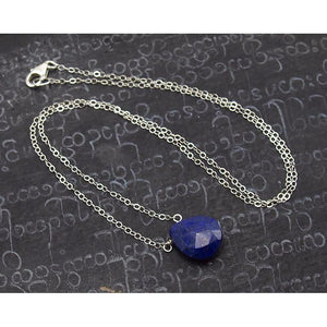 Lapis Lazuli Necklace on Sterling Silver Chain and Sterling Silver Trigger Clasp