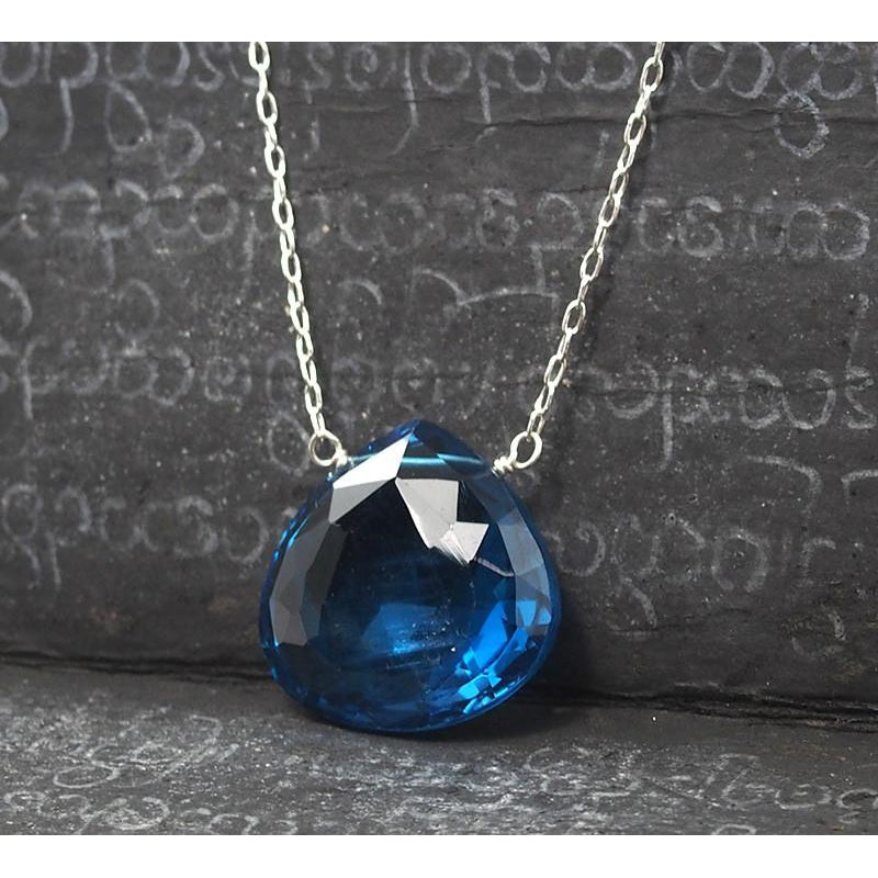 Blue Topaz Pendant Necklace On Sterling Silver Chain With Sterling Silver Trigger Clasp
