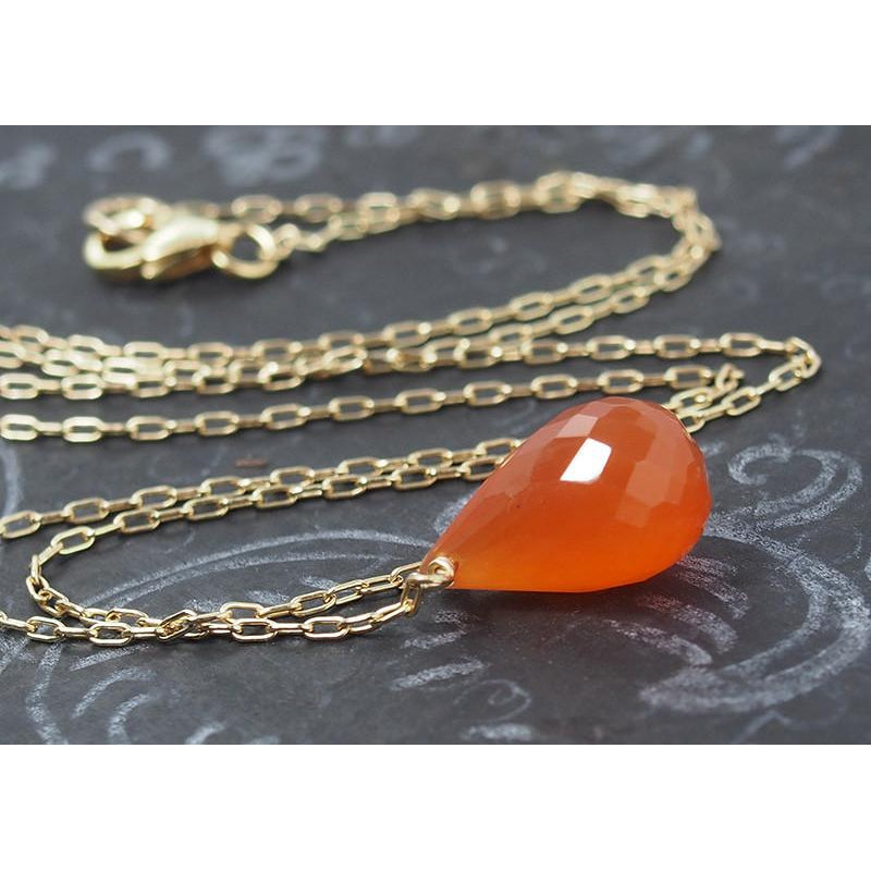 Carnelian Necklace on Gold Filled Chain and Gold Filled Trigger Clasp
