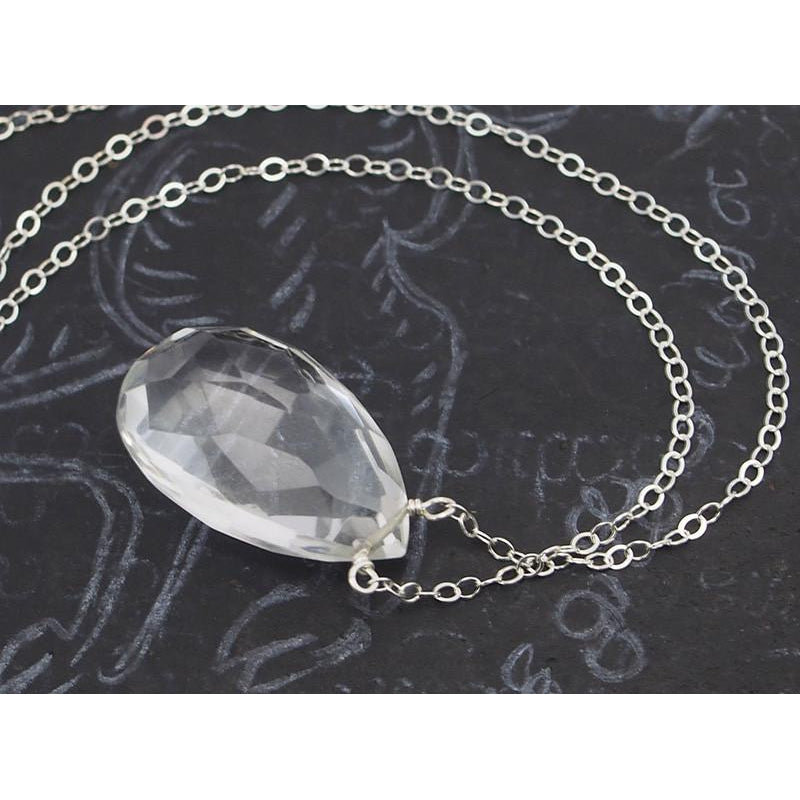 Crystal Quartz Necklace on Sterling Silver Chain with Sterling Silver Trigger Clasp