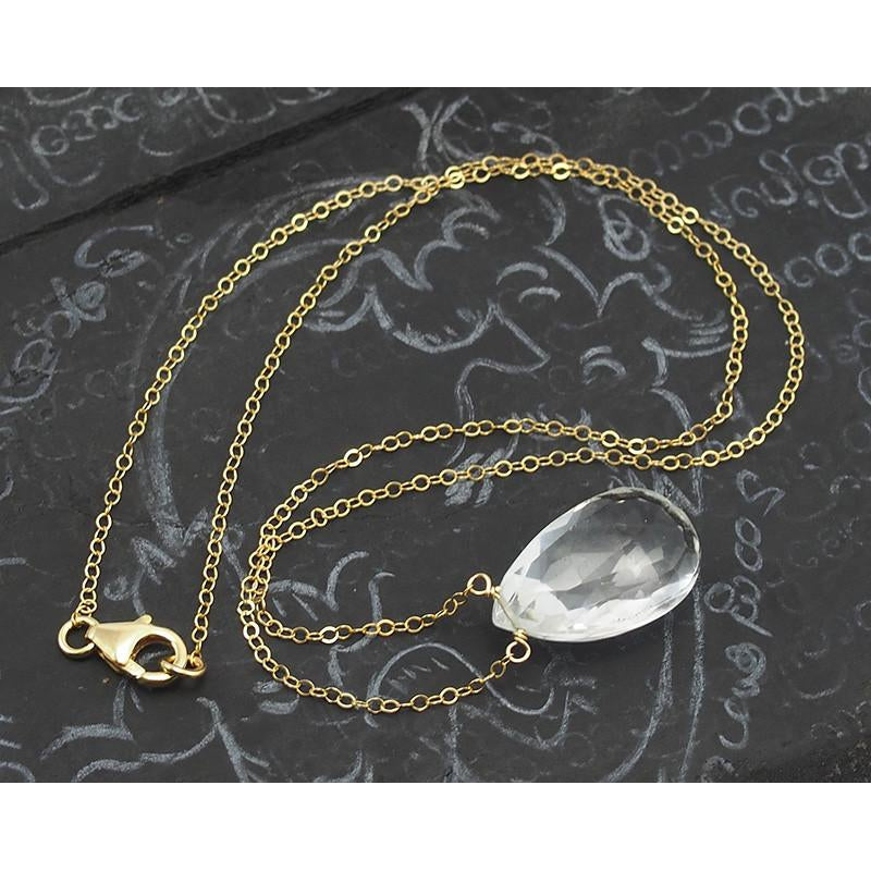 Crystal Quartz Necklace on Gold Filled Chain with Gold Filled Trigger Clasp