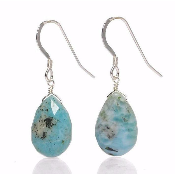 Larimar Earrings with Sterling Silver French Ear Wires
