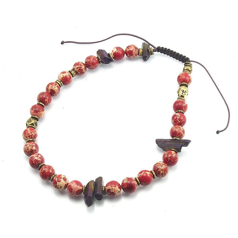 Red Impression Jasper Double Wrap Bracelet with Quartz Shards