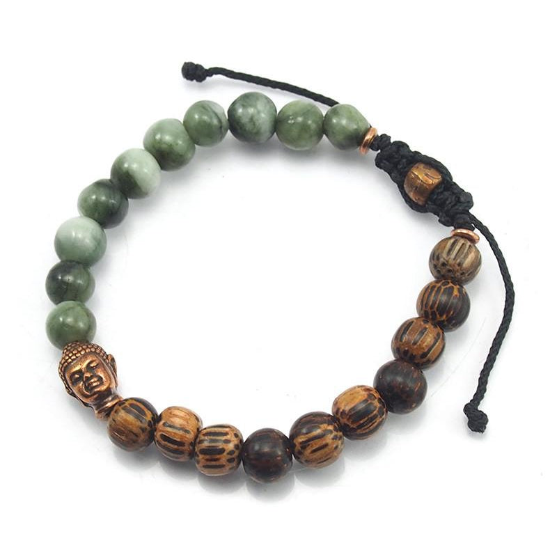 Jade and Palmwood Macrame bracelet with Copper Om Bead and Buddha Accent