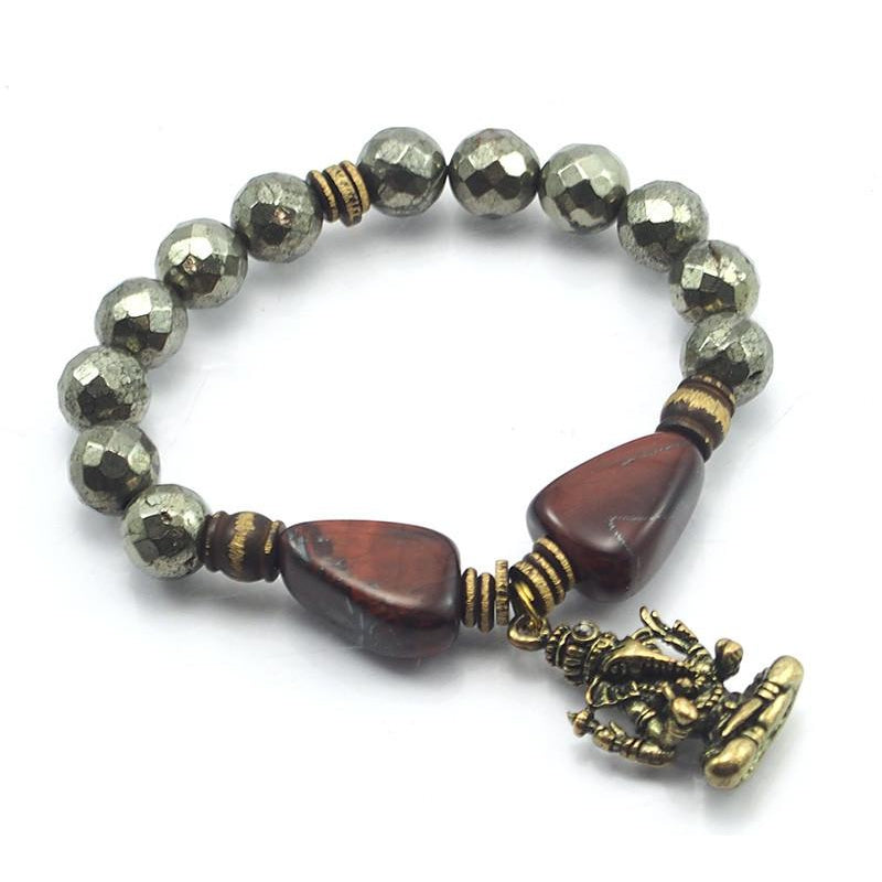 Pyrite and Tiger's Eye Stretch Bracelet with Brass Ganesha Amulet
