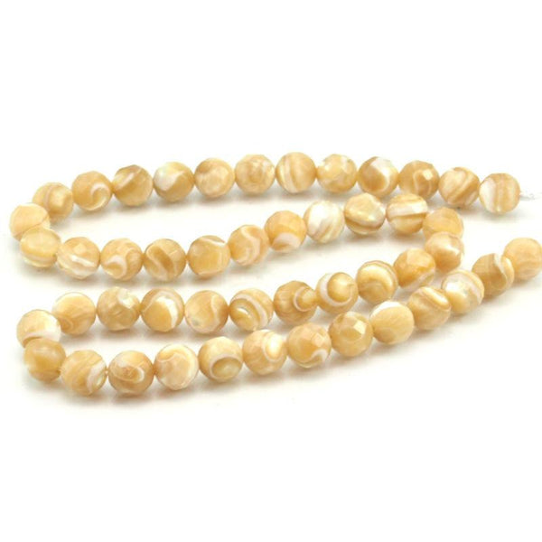 Mother of Pearl Faceted Rounds 8mm