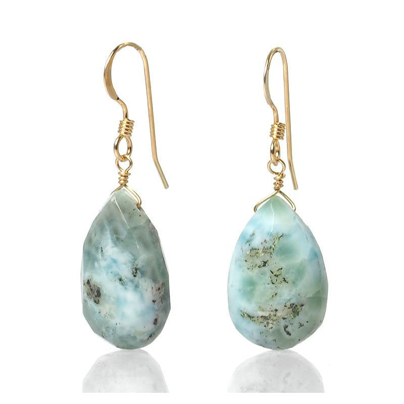 Larimar Earrings with Gold Filled French Ear Wires
