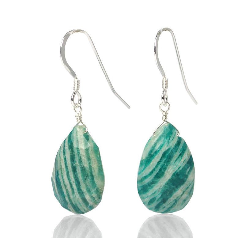 Amazonite Earrings with Sterling Silver French Ear Wires