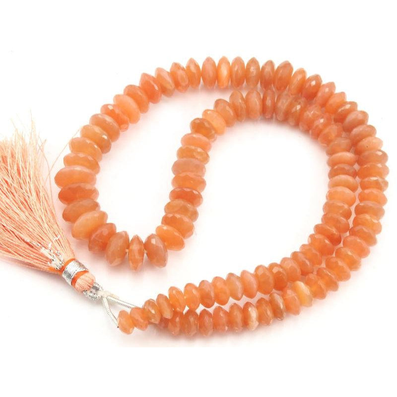 Peach Moonstone German Cut Faceted Rondelle Strand  6mm-11mm