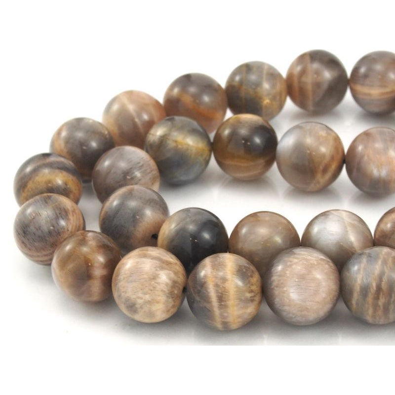 Peach Moonstone Smooth Rounds 13mm Strand