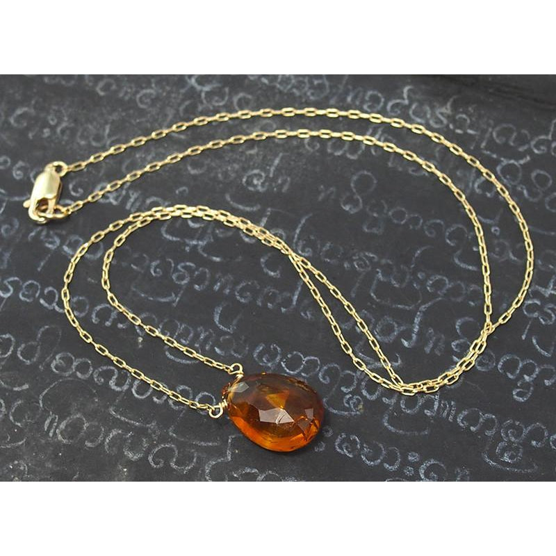 Fiery Citrine Necklace On Gold Filled Chain With Gold Filled Lobster Clasp